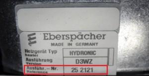 Hier sehen Sie den Aufkleber eines Eberspächer Heizgerätes mit der Ausführungsnummer 252121.